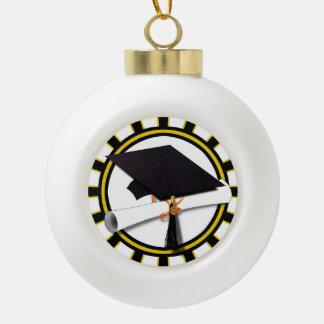卒業生の帽子及び免状w/Schoolは黒および金ゴールドを着色します セラミックボールオーナメント