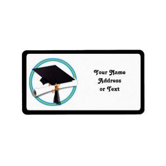 卒業生の帽子w/Diploma -学校は金ゴールド及びLt Blueを着色します 宛名ラベル