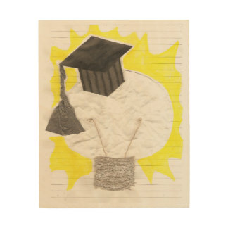 卒業生の球根の木のキャンバス ウッドウォールアート