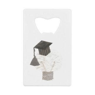 卒業生の球根背景のクレジットカードの栓抜き無し クレジットカード ボトルオープナー