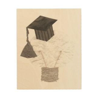 卒業生の球根背景の木のキャンバス無し ウッドウォールアート