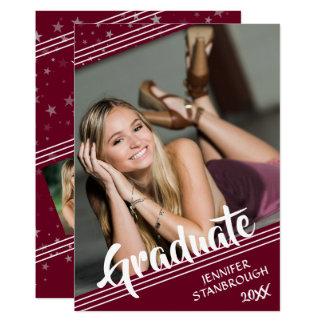 卒業生、ライン及び星 編集可能色 の4写真 カード