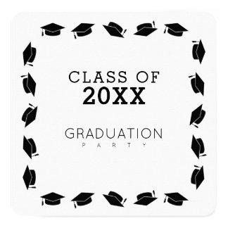 卒業生/卒業パーティーの白 13.3 スクエアインビテーションカード