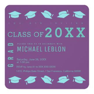 卒業生/卒業パーティーの紫色 13.3 スクエアインビテーションカード