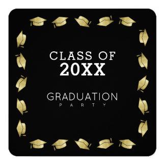 卒業生/卒業パーティーの黒 13.3 スクエアインビテーションカード