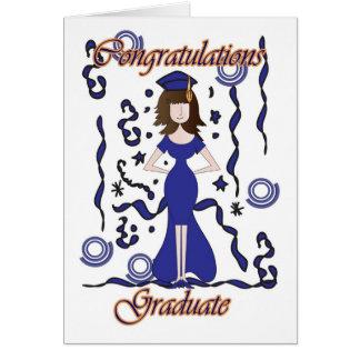 卒業生、女の子との卒業のお祝い カード