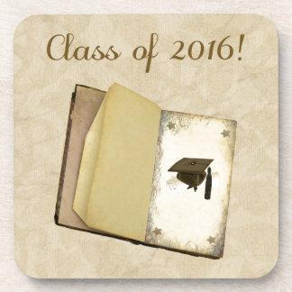 卒業、卒業の帽子および免状の物語 コースター