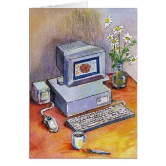 卓上コンピュータ及びデイジーの花のサンキューカード カード