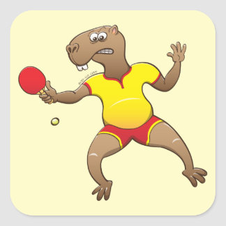 卓球を遊んでいるカピバラ スクエアシール