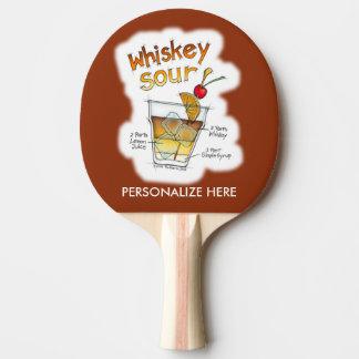 卓球ラケット、ウイスキーサワーのレシピのカクテルの芸術 卓球ラケット