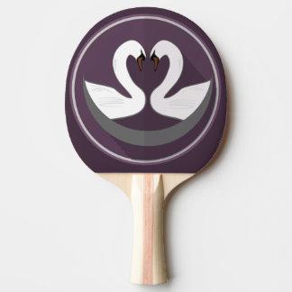 卓球ラケット、赤いゴム背部愛白鳥 ピンポンラケット