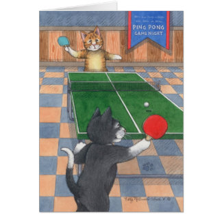卓球猫の誕生日の芽及びトニーNotecard カード