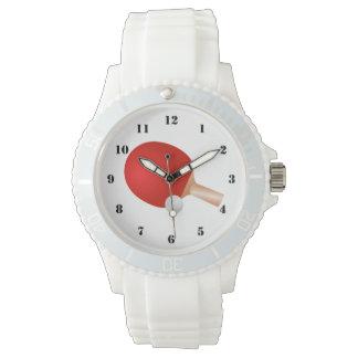 卓球(卓球)のスポーティで白い腕時計 腕時計
