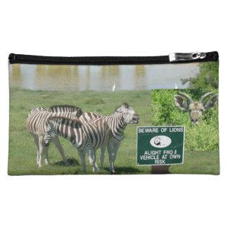 南アフリカのシマウマおよびライオンの化粧品のバッグ コスメティックバッグ
