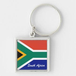 南アフリカの旗の正方形の旗 シルバーカラー正方形キーホルダー
