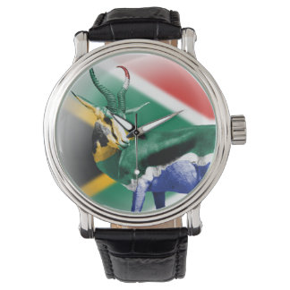 南アフリカのSpringbockの旗の腕時計 ウォッチ