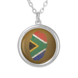 南アフリカのtouchの指紋の旗 シルバープレートネックレス