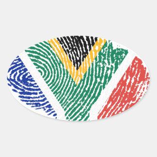 南アフリカのtouchの指紋の旗 楕円形シール