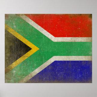 南アフリカ共和国からの旗が付いているポスター ポスター