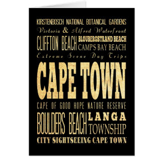 南アフリカ共和国のタイポグラフィの芸術のカフェの町都市 カード