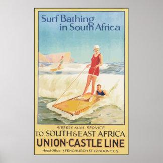 南アフリカ共和国のヴィンテージで浸る波 ポスター