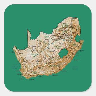 南アフリカ共和国の地図のステッカー スクエアシール