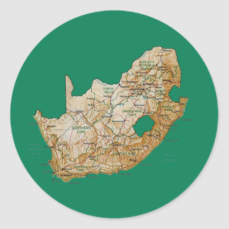 南アフリカ共和国の地図のステッカー ラウンドシール