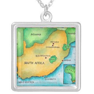 南アフリカ共和国の地図 シルバープレートネックレス
