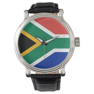 南アフリカ共和国の旗が付いている愛国心が強く、特別な腕時計 腕時計