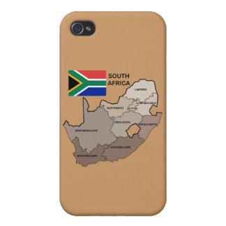 南アフリカ共和国の旗そして地図 iPhone 4 ケース