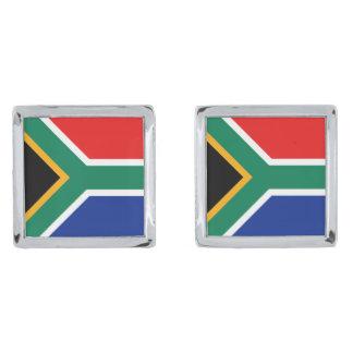 南アフリカ共和国の旗のカフスボタン 銀色 カフリンク