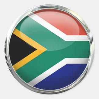 南アフリカ共和国の旗のガラス玉 ラウンドシール