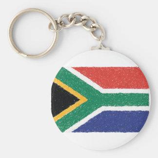 南アフリカ共和国の旗のテーマ ベーシック丸型缶キーホルダー