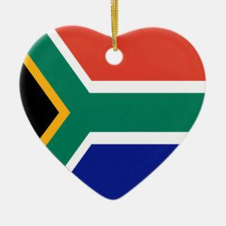 南アフリカ共和国の旗のハート セラミックオーナメント