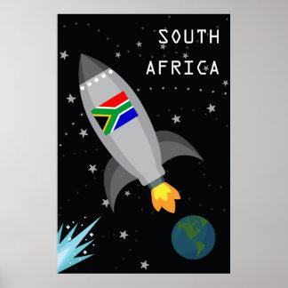 南アフリカ共和国の旗のロケットの船 ポスター