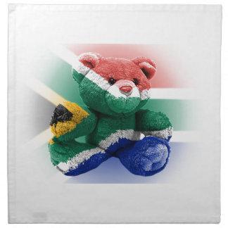 南アフリカ共和国の旗の包まれたなテディー・ベア ナプキンクロス