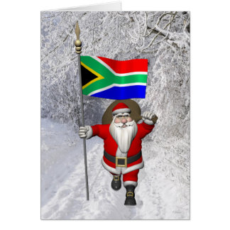 南アフリカ共和国の旗を持つサンタクロース カード