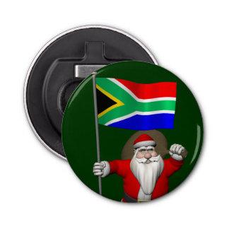 南アフリカ共和国の旗を持つサンタクロース 栓抜き