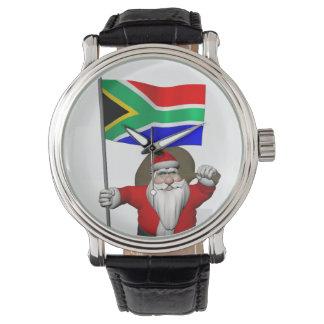 南アフリカ共和国の旗を持つサンタクロース 腕時計