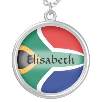 南アフリカ共和国の旗 + 一流のネックレス シルバープレートネックレス