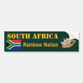 南アフリカ共和国の旗 + 地図のバンパーステッカー バンパーステッカー