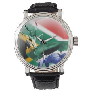 南アフリカ共和国のSpringbuckの旗の腕時計 腕時計