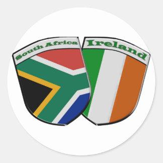 南アフリカ共和国及びアイルランドの友情の旗のテーマ ラウンドシール