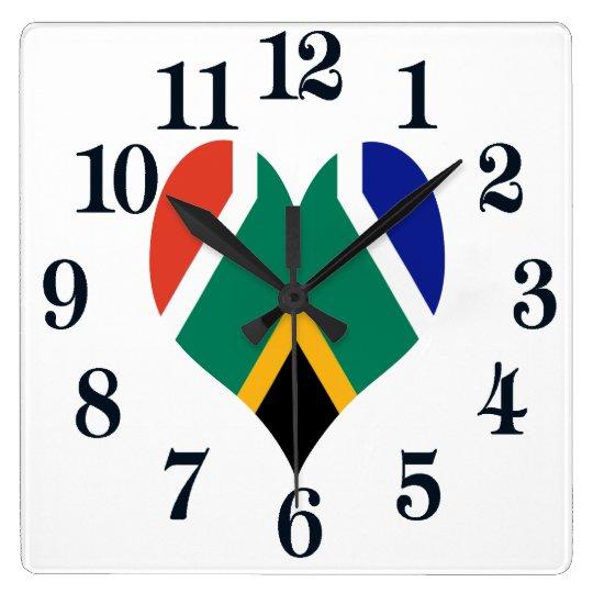 南アフリカ共和国Bokkeの旗 スクエア壁時計