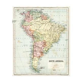 南アメリカの旧式な地図 キャンバスプリント