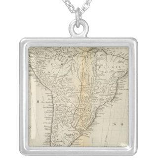 南アメリカ2の地図 シルバープレートネックレス