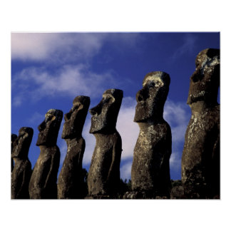 南アメリカ、チリのイースター島、Ahu Akiri. ポスター
