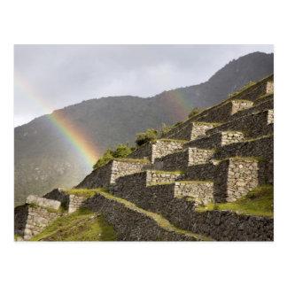 南アメリカ、ペルー、Machu Picchu。 虹 ポストカード