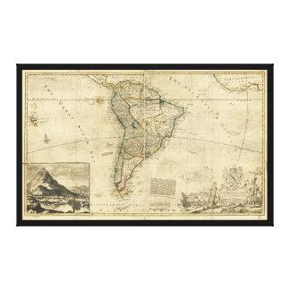 南アメリカ(c. 1712年)のヴィンテージの地図 キャンバスプリント