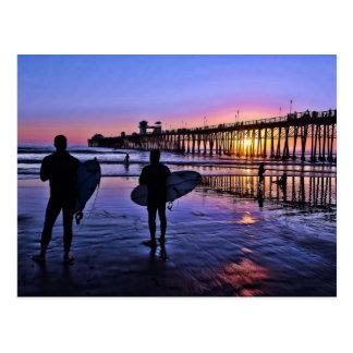 南カリフォルニア日没の郵便はがき ポストカード